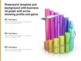 Powerpoint Template And Background With Business 3d Graph With Arrow Showing Profits And Gains