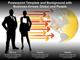 Powerpoint Template And Background With Business Arrows Global And People