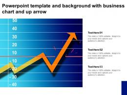 Powerpoint Template And Background With Business Chart And Up Arrow