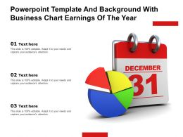 Powerpoint Template And Background With Business Chart Earnings Of The Year