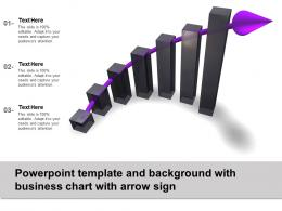 Powerpoint Template And Background With Business Chart With Arrow Sign