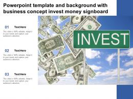 Powerpoint Template And Background With Business Concept Invest Money Signboard
