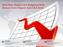 Powerpoint Template And Background With Business Crisis Diagram And A Red Arrow