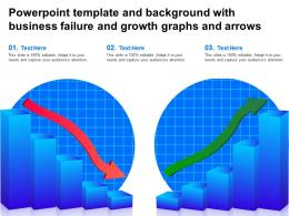 Powerpoint Template And Background With Business Failure And Growth Graphs And Arrows