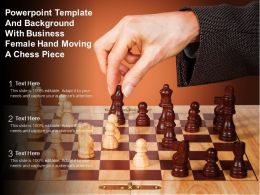 Powerpoint Template And Background With Business Female Hand Moving A Chess Piece