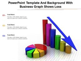 Powerpoint Template And Background With Business Graph Shows Loss