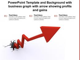 Powerpoint Template And Background With Business Graph With Arrow Showing Profits Gains