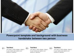 Powerpoint Template And Background With Business Handshake Between Two Person