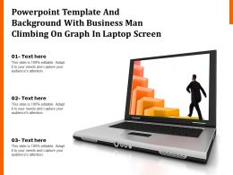 Powerpoint Template And Background With Business Man Climbing On Graph In Laptop Screen
