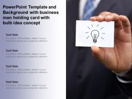 Powerpoint Template And Background With Business Man Holding Card With Bulb Idea Concept