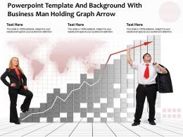 Powerpoint Template And Background With Business Man Holding Graph Arrow