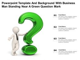 Powerpoint Template And Background With Business Man Standing Near A Green Question Mark