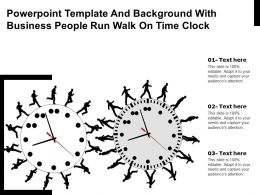 Powerpoint Template And Background With Business People Run Walk On Time Clock