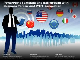 Powerpoint Template And Background With Business Person And WIFI Connection