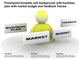Powerpoint Template And Background With Business Plan With Market Budget And Feedback Frames