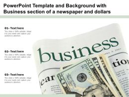 Powerpoint Template And Background With Business Section Of A Newspaper And Dollars