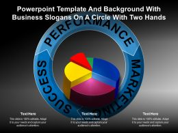 Powerpoint Template And Background With Business Slogans On A Circle With Two Hands