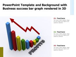 Powerpoint Template And Background With Business Success Bar Graph Rendered In 3d