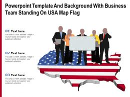 Powerpoint Template And Background With Business Team Standing On USA Map Flag