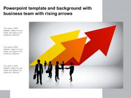 Powerpoint Template And Background With Business Team With Rising Arrows