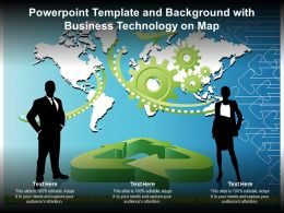 Powerpoint Template And Background With Business Technology On Map