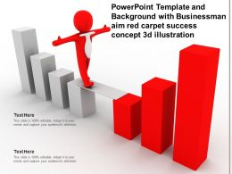 Powerpoint Template And Background With Businessman Aim Red Carpet Success Concept 3d Illustration