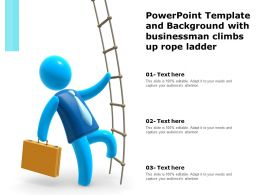 Powerpoint Template And Background With Businessman Climbs Up Rope Ladder