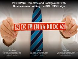 Powerpoint Template And Background With Businessman Holding The Solution Sign