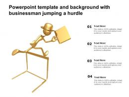 Powerpoint Template And Background With Businessman Jumping A Hurdle