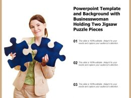 Powerpoint Template And Background With Businesswoman Holding Two Jigsaw Puzzle Pieces