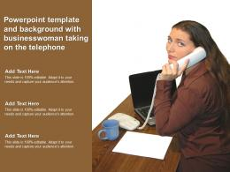 Powerpoint Template And Background With Businesswoman Taking On The Telephone