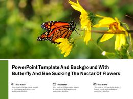 Powerpoint Template And Background With Butterfly And Bee Sucking The Nectar Of Flowers