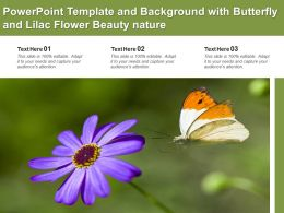 Powerpoint Template And Background With Butterfly And Lilac Flower Beauty Nature
