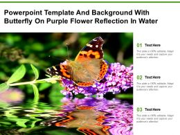 Powerpoint Template And Background With Butterfly On Purple Flower Reflection In Water