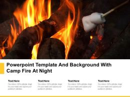 Powerpoint Template And Background With Camp Fire At Night