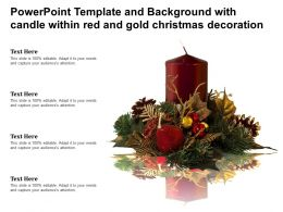 Powerpoint Template And Background With Candle Within Red And Gold Christmas Decoration