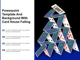 Powerpoint Template And Background With Card House Falling