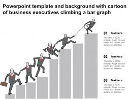 Powerpoint Template And Background With Cartoon Of Business Executives Climbing A Bar Graph