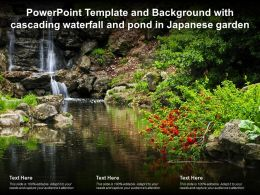 Powerpoint Template And Background With Cascading Waterfall And Pond In Japanese Garden