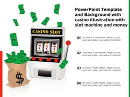 Powerpoint Template And Background With Casino Illustration With Slot Machine And Money