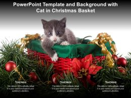 Powerpoint Template And Background With Cat In Christmas Basket