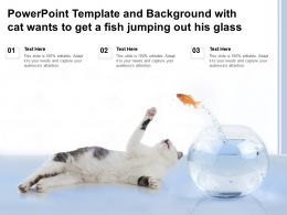 Powerpoint Template And Background With Cat Wants To Get A Fish Jumping Out His Glass