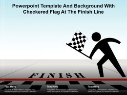 Powerpoint Template And Background With Checkered Flag At The Finish Line