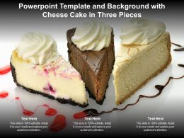 Powerpoint Template And Background With Cheese Cake In Three Pieces
