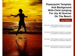 Powerpoint Template And Background With Child Jumping For Joy At Sunrise On The Beach