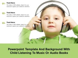 Powerpoint Template And Background With Child Listening To Music Or Audio Books