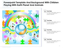 Powerpoint Template And Background With Children Playing With Earth Planet And Animals