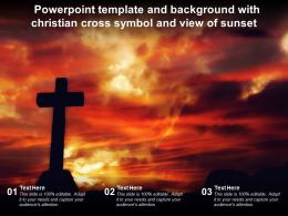 Powerpoint Template And Background With Christian Cross Symbol And View Of Sunset