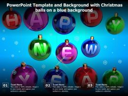 Powerpoint Template And Background With Christmas Balls On A Blue Background