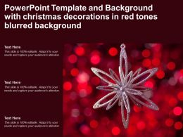 Powerpoint Template And Background With Christmas Decorations In Red Tones Blurred Background